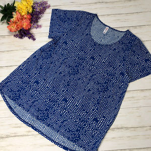 LLR LuLaRoe Classic T Blue White Abstract